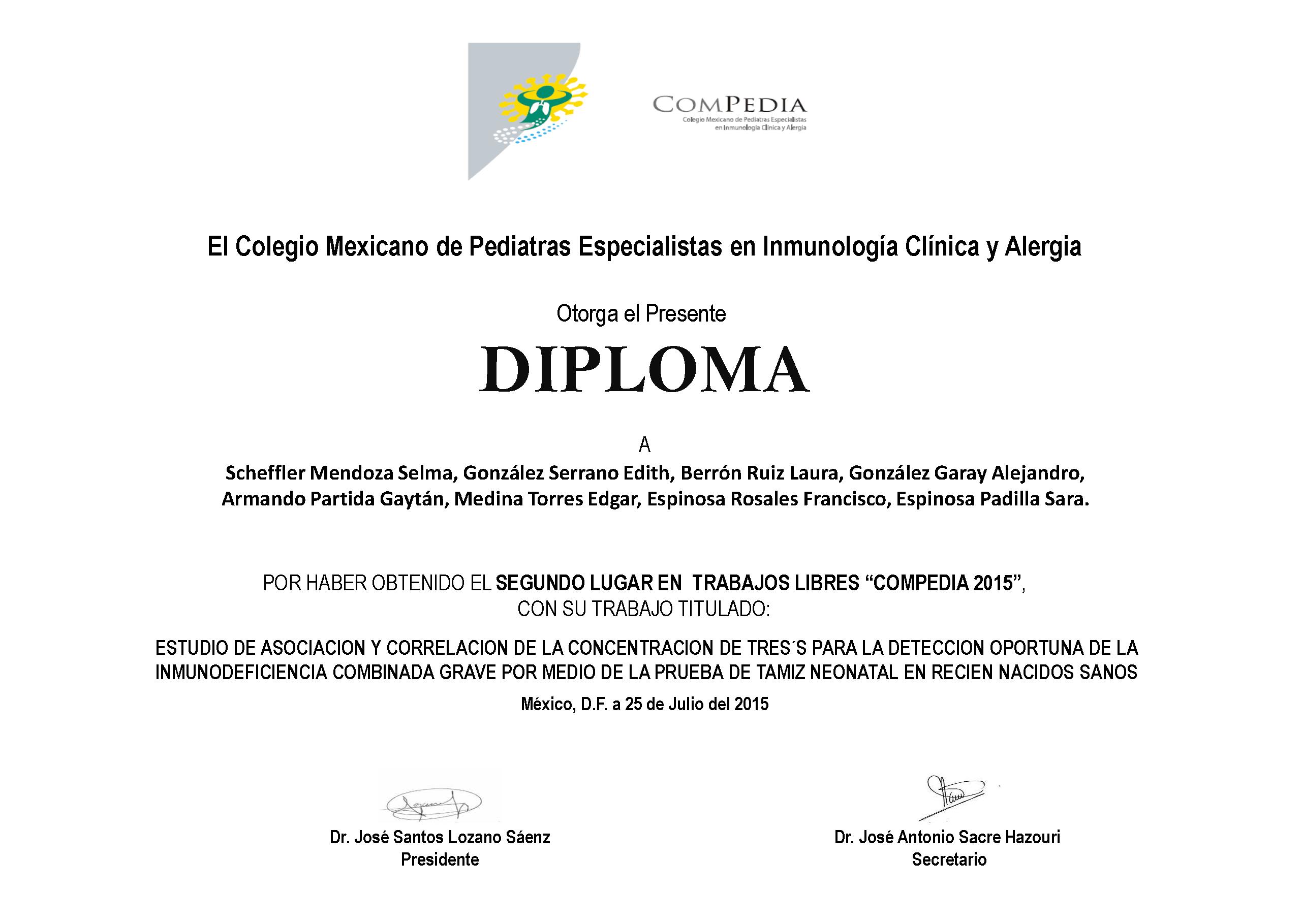 Diplomas Ganadores Segundo lugarTrabajos Libres 2015