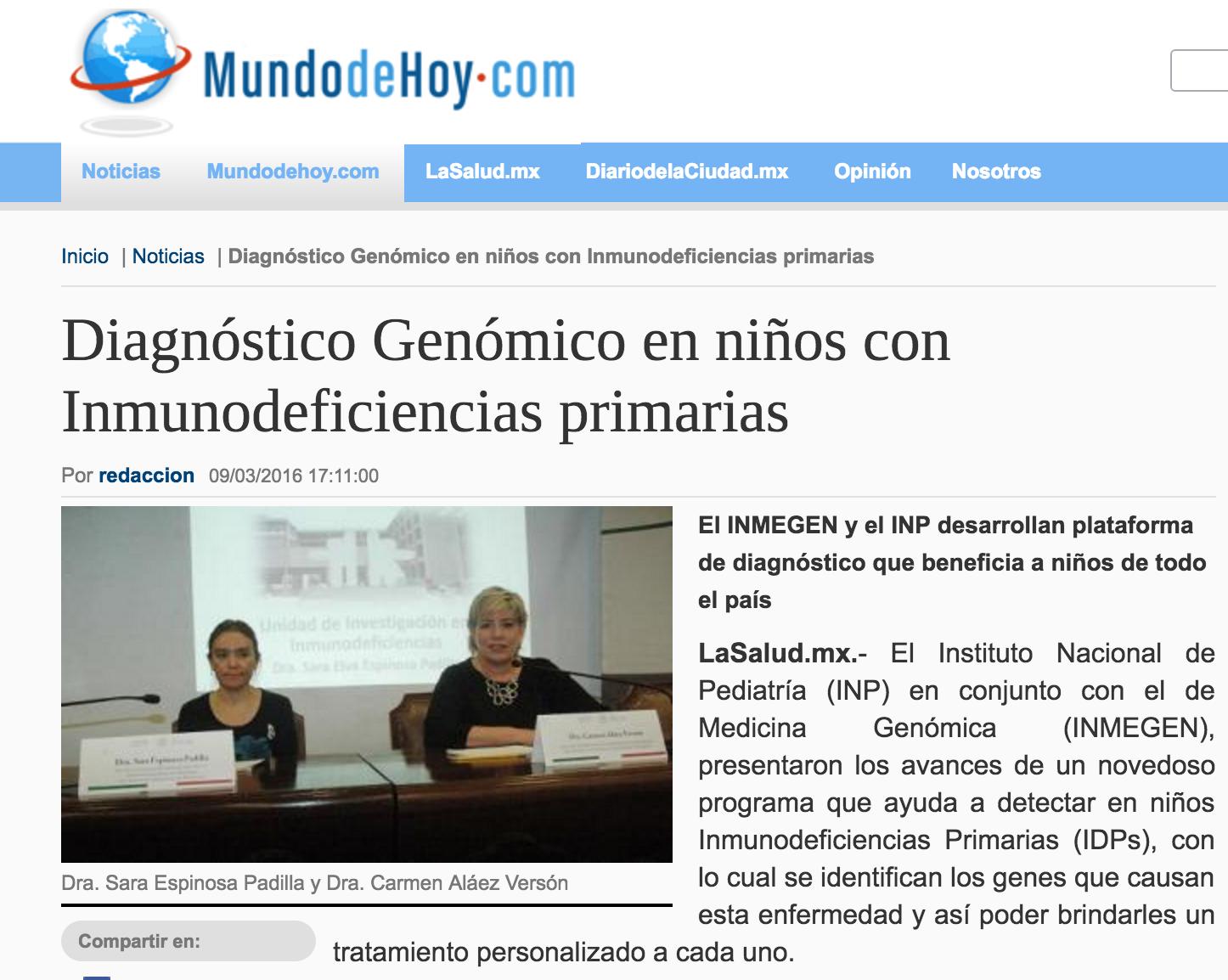 9 de marzo, Diagnóstico Genómico
