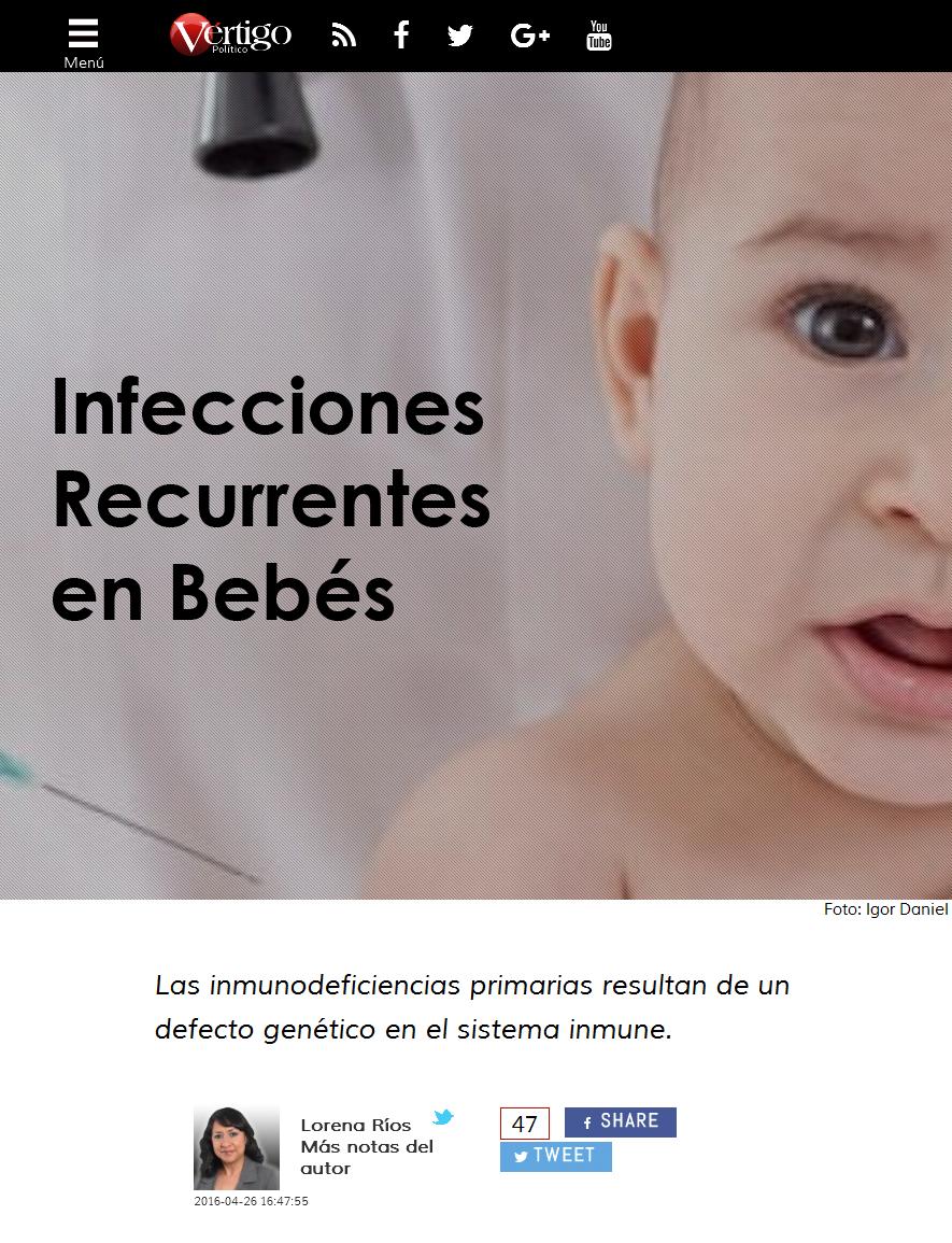 Reportaje en Vértigo Político: Infecciones Recurrentes en Bebés