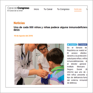 Canal del Congreso: Uno de cada 500 niñas y niños padece alguna inmunodeficiencia: IMSS