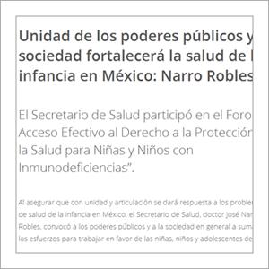 Secretaría de Salud: Unidad de los poderes públicos y sociedad fortalecerá la salud de la infancia en México: Narro Robles