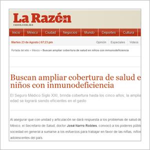 La Razón: Buscan ampliar cobertura de salud en niñas y niños con inmunodeficiencias