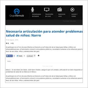 Radio Fórmula: Necesaria articulación para atender problemas de salud en niñas y niños: Narro