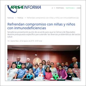 Rasa Informa: Refrendan compromiso con niñas y niños con inmunodeficiencias