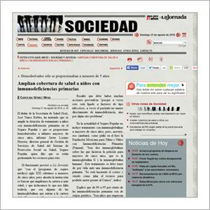 La Jornada UNAM : Amplían cobertura de salud a niñas y niños con inmunodeficiencias primarias