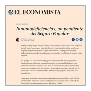 El Economista: Inmunodeficiencias, un pendiente del Seguro Popular